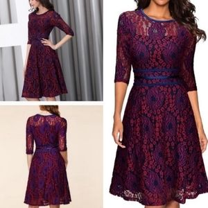 Miusol Wine and Blue Lace Dress size large